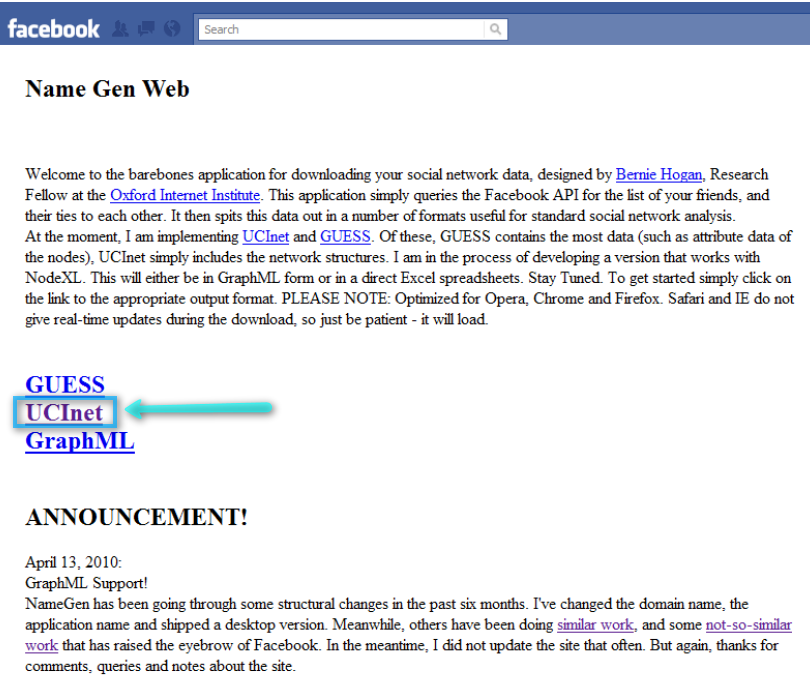 How to Download Facebook a Social Graph with NameGenWeb